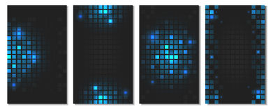 Set of abstract blue square mosaic wallpaper with shiny geometric tiles. Vector illustration for your graphic design or mobile phone background vector illustration