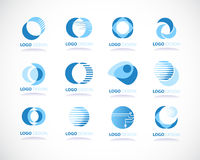 Set of abstract blue vector icons stock illustration