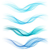 Set of abstract blue waves. Stock Photography