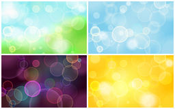 Set of abstract blurred circular bokeh lights Stock Images