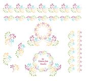 Set abstract borders circles  Wreaths  from branches colorful tones. For decoration template flyer banner or other things stock illustration