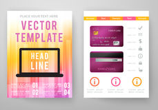Set of abstract bright background for flyer. Brochure template. Vector illustration for modern design. Mobile technologies, applications and online services Stock Photos