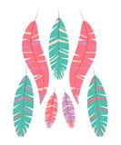 Set of abstract bright feathers on white background. stock illustration