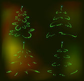 Set of abstract brilliant Christmas trees. EPS10 Stock Photos