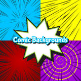 Set of abstract burst comic backgrounds Royalty Free Stock Photo