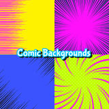 Set of abstract burst and motion comic backgrounds Stock Images