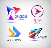 Set of Abstract business logo icon design template arrows, origami dynamic signs. Royalty Free Stock Images