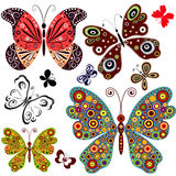 Set abstract butterflies Stock Image
