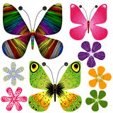 Set abstract butterflies and flowers Royalty Free Stock Photo