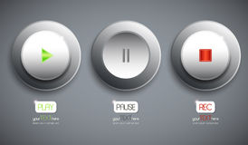 Set of 3 abstract buttons / icons. Play. Pause. Rec. Pressed and unpressed Stock Photo