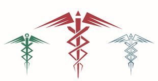 Set of abstract caduceus. Medical or commercial symbol. Modern depiction of the caduceus. Vector illustration EPS-8 royalty free illustration