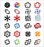 A set of abstract characters. In black and white and colour Royalty Free Stock Photos