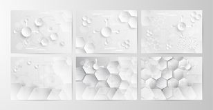 Set of abstract chemical background in grey and white tone in co. Ncept of paper cut and flat design. Vector illustration in digitalcraft stock illustration