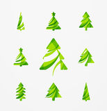 Set of abstract Christmas Tree Icons, business. Logo concepts, clean modern glossy design. Created with transparent abstract lines Royalty Free Stock Photography