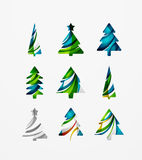 Set of abstract Christmas Tree Icons, business. Logo concepts, clean modern glossy design. Created with transparent abstract lines Stock Images