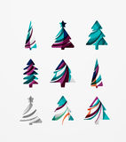 Set of abstract Christmas Tree Icons, business. Logo concepts, clean modern glossy design. Created with transparent abstract lines Stock Image