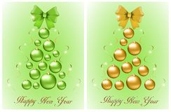Set of abstract Christmas trees from balls and bows royalty free illustration