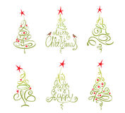 Set -- abstract christmas trees Royalty Free Stock Images
