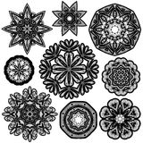 Set of Abstract circle lace patterns. Stock Image