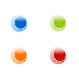 Set of abstract circles on white background, blue, orange, red a Stock Photo