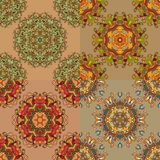 Set of 4 abstract circular seamless pattern Royalty Free Stock Photo