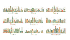 Set of 9 Abstract City Skyline. Vector Illustration. Stock Images