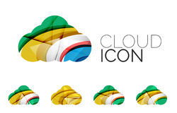 Set of abstract cloud computing icons, business Stock Photos