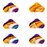 Set of abstract cloud computing icons, business Royalty Free Stock Photography