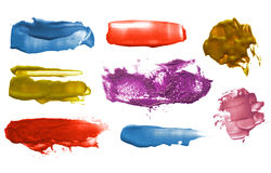 Set of abstract color acrylic brush strokes. Stock Image