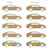 Set of color car silhouettes Royalty Free Stock Photography