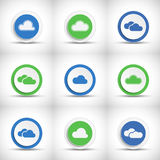 Set of abstract color cloud buttons Royalty Free Stock Photos