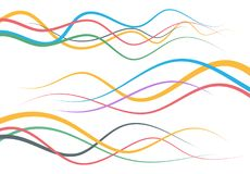 Set of abstract color  curved lines. Wave design element. Vector illustration Stock Photo