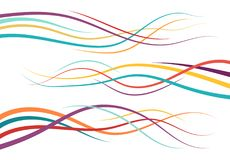 Set of abstract color  curved lines. Wave design element. Vector illustration Stock Image
