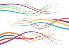 Set of abstract color curved lines. Wave design element. Vector illustration stock illustration