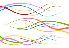 Set of abstract color  curved lines. Wave design element. Vector illustration Royalty Free Stock Photography