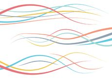 Set of abstract color  curved lines. Wave design element. Vector illustration Royalty Free Stock Photo