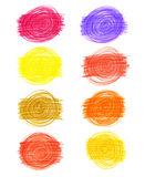 Set of abstract color drawn elements Stock Photography