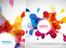 Set of abstract colored backgrounds with leafs. Vector art Stock Photos