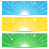 Set of abstract colorful backgrounds. Colored background with sunbeams Royalty Free Stock Photos