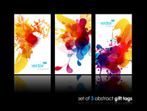 Set of abstract colorful cards. Set of abstract colorful splash gift cards with reflection Stock Image