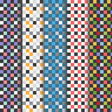 Set of abstract colorful checkered seamless patterns Stock Image