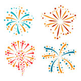 Set of abstract colorful fireworks and salute.  Royalty Free Stock Photo