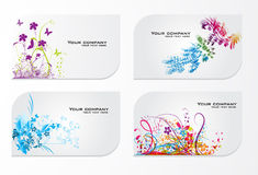 Set of abstract colorful floral gift cards Stock Photos