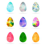 Set of abstract colorful geometric Easter egg shapes from triang Stock Images