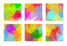 Set of abstract colorful geometric polygonal. Square backgrounds Royalty Free Stock Images