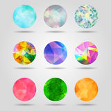 Set of abstract colorful geometric spherical shapes from triangu Royalty Free Stock Photo