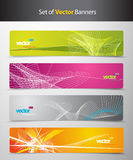 Set of abstract colorful headers with lines. And place for your text Royalty Free Stock Photo