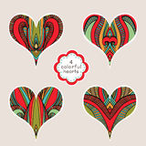 Set Of Abstract Colorful Hearts Stock Image