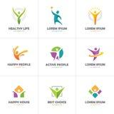 Set of abstract colorful human logo Royalty Free Stock Photo