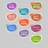 Set of abstract colorful sale stickers. stock illustration